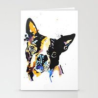 boston terrier Stationery Cards featuring boston terrier by Smolder Design