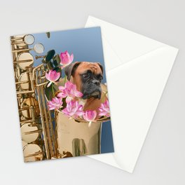 Saxophone Boxer with Lotos Flower Blossoms Stationery Cards