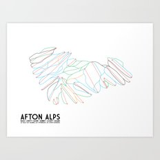 Afton Alps, MN - Minimalist Trail Art Art Print