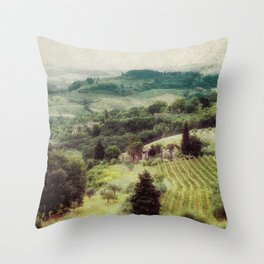 Tuscan Hillside Painting Throw Pillow