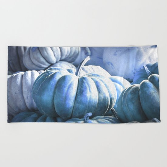 Autumn Pumpkins Blue Beach Towel