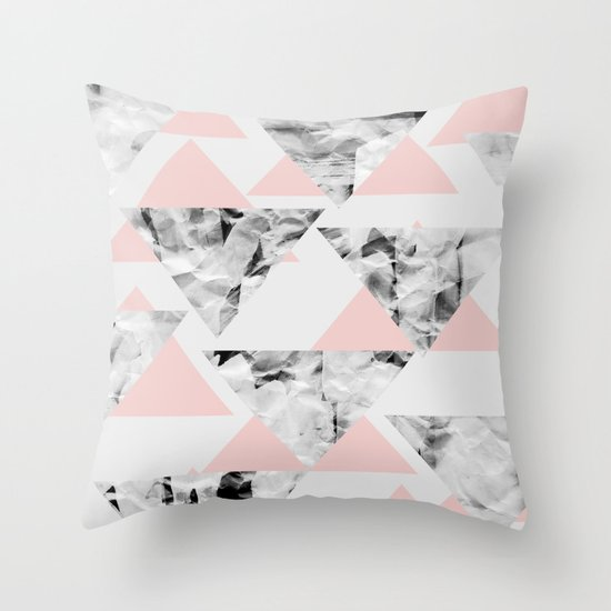 Pink Triangles Throw Pillow
