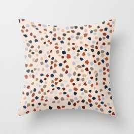 Terrazzo painted dots _ clay tones & blue_ oil painting Throw Pillow