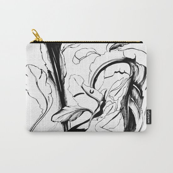 Plant in Blue Marker - Leaf of Life Miracle Leaf - Black and White Carry-All Pouch