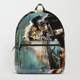 The Hunt. Great Horned Owl. owl painting Backpack