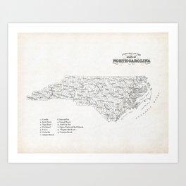 North Carolina Surf Map Art Print