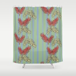 Striped Australian Floral Print Shower Curtain