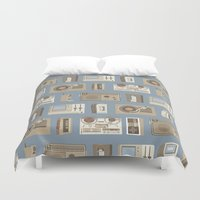technology Duvet Covers featuring Obsolete Technology by Daniel long Illustration