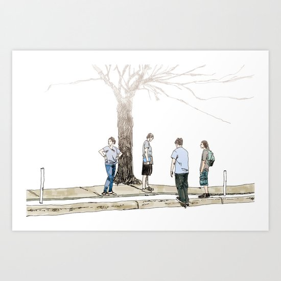 tree plus people Art Print