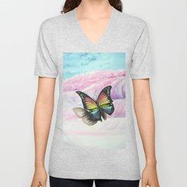Le papillon de l'amour arc en ciel Unisex V-Neck