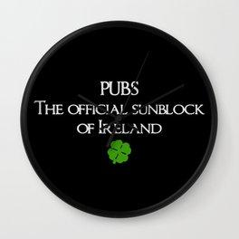 Pubs. Official Sunblock of Ireland. Wall Clock