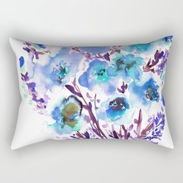 Bouquet Blue Rectangular Pillow