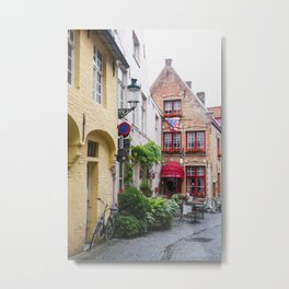 Bike with brick buildings, Bruges Metal Print
