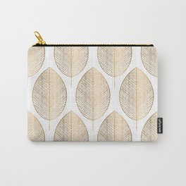 Golden Leaves On White Geometric Pattern With White Shimmer  Carry-All Pouch