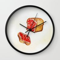 bread Wall Clocks featuring Bread by colorlabo