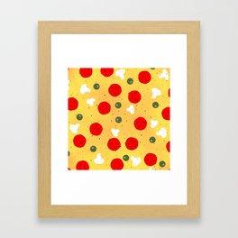 Cool fun pizza pepperoni mushroom Framed Art Print