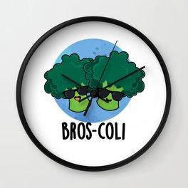 Bros-coli Cute Broccoli Veggie Pun Wall Clock
