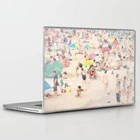it crowd Laptop & iPad Skins featuring Beach Crowd by Mina Teslaru