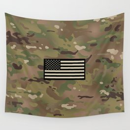 U.S. Flag: Woodland Camouflage Wall Tapestry