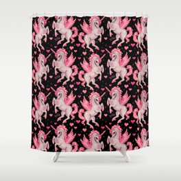 Pink Unicorn Pegasus on Black Shower Curtain