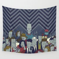 twin peaks Wall Tapestries featuring Twin Peaks by Ale Giorgini