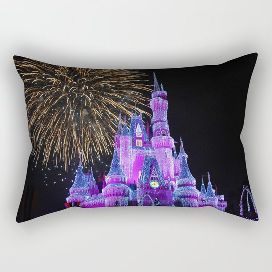 Disney Magic Kingdom Fireworks at Christmas - Cinderella Castle Rectangular Pillow