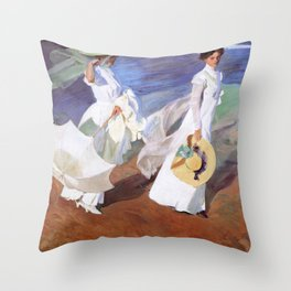 Joaquin Sorolla - Walk on the Beach Throw Pillow