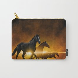 Wild Black Horses Carry-All Pouch