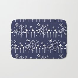 Nordic Floral in Navy Blue Bath Mat