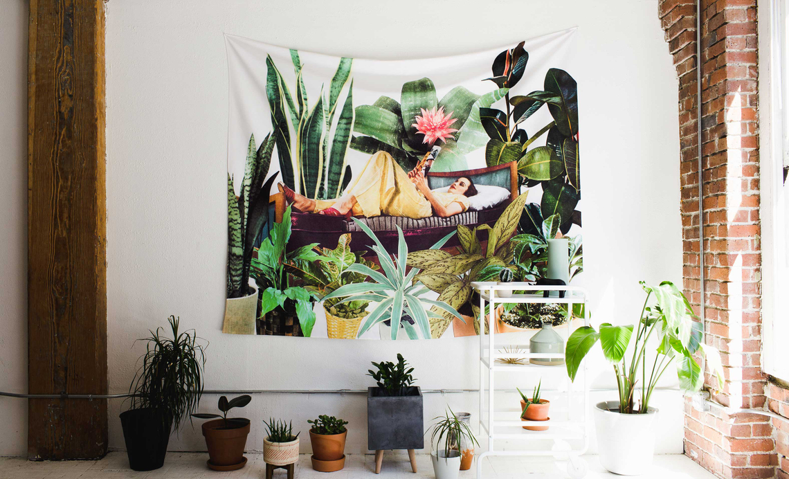 tapestry of woman with plants