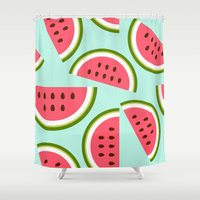 watermelon Shower Curtains featuring Watermelon by Cute Cute Cute
