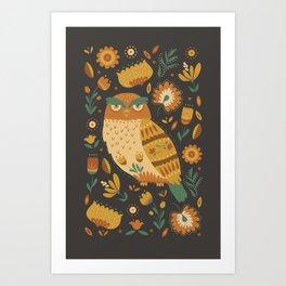 Autumn Folk Art Owl Art Print