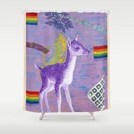 rainbow deer 1 Shower Curtain
