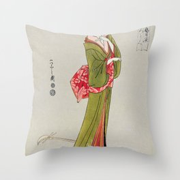 Itsutomi by Eishi Hosoda (1756-1829) a traditional Japanese Ukyio-e style  of a Japanese woman in a kimono and a shamisen on the floor Throw Pillow