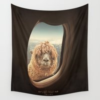 lama Wall Tapestries featuring QUÈ PASA? by Monika Strigel