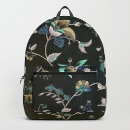 Classic vintage teal pink green bohemian floral Backpack