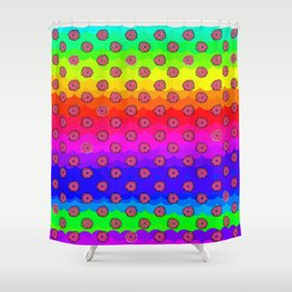 Rainbow and pink flowers Shower Curtain