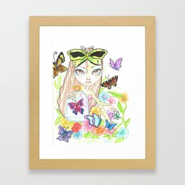 Girl with her Butterflies Framed Art Print
