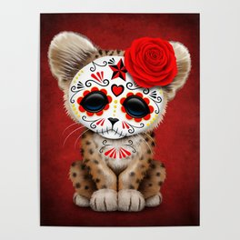Red Day of the Dead Sugar Skull Leopard Cub Poster