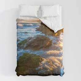 Picture Rays of light USA Malibu Sea Rock Nature Waves Moss Stones Crag Cliff stone Comforters