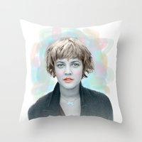 90s Throw Pillows featuring 90s drew by lanabeebear