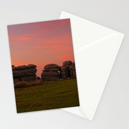 Bright Orange Sunset At Combestone Tor Stationery Cards