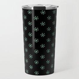 Magic Mint Green on Black Snowflakes Travel Mug