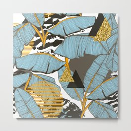 Banana leaves and triangles Metal Print