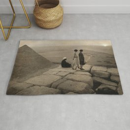 Looking across the Sahara Desert from the top of the Pyramid of Cheops, Egypt at sunset black and white photograph Rug