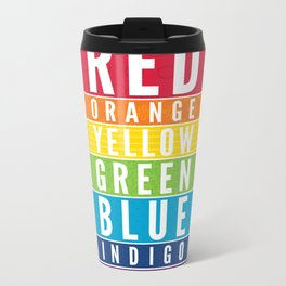 EDUCATIONAL RAINBOW COLORS bold modern classroom typography art Metal Travel Mug