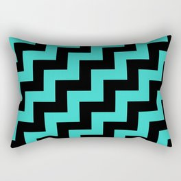 Black and Turquoise Steps RTL Rectangular Pillow