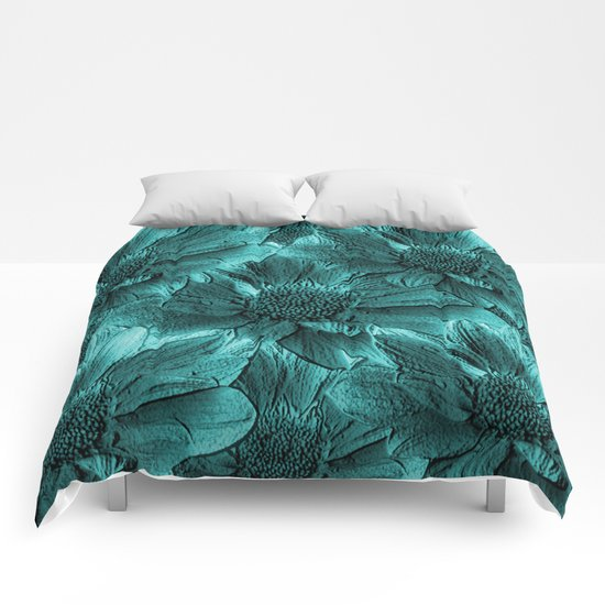 Turquoise Floral Abstract Comforters