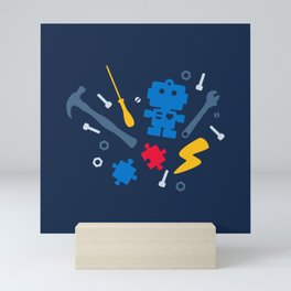 Young Engineer - Blue, Red and Yellow Mini Art Print
