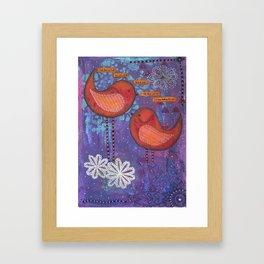 Whimsical Soul Birds Mixed Media Framed Art Print